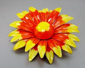 Daisy Flower Brooch/ Large Yellow Orange Brooch/ Enamel Jewelry/1960's Costume Jewelry