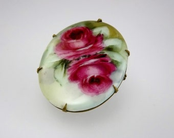 Antique Victorian Brooch, Hand Painted Porcelain Rose Brooch, Heirloom Jewelry, Historical Jewelry