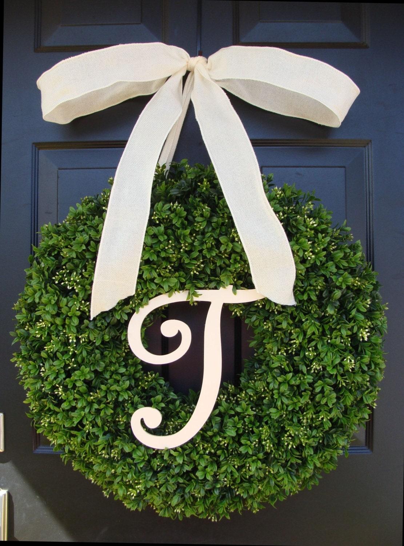 monogram letter boxwood wreath front door by elegantwreath on etsy