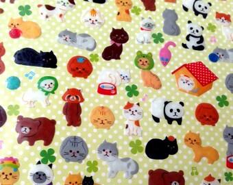 Cute Sticker, cat, kitten, kitty, neko, panda, animal, Kawaii Sticker, raccoon, Japan, card decoration, bear, teddy, decoration, doll, seal