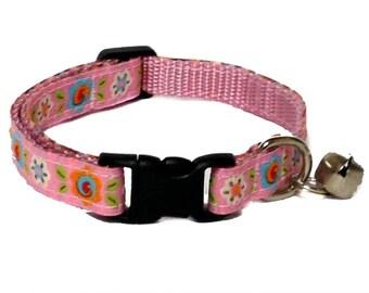Garden Pink Floral breakaway Cat collar