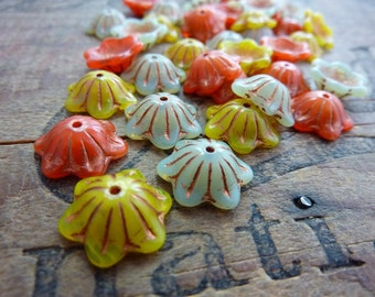 Czech Glass Flower Beads 3 Color Mix (6)