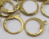 50 Raw Brass Leverback Earring Clasp  (12x14 Mm) (bs1100)