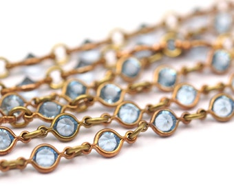 1 M Vintage Aquamarine Swarovski Chain Raw Brass Links S553