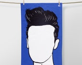 Morrissey Tea towel, Morrissey Dishcloth, Cotton Tea Towel, Rock Icon Tea Towel, Kitchen Towel, Morrissey Cloth, Blue Towel, Blue Tea Towel