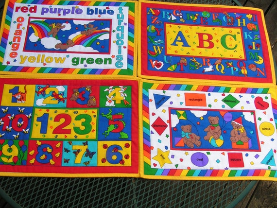 4 Quilted REVERSIBLE Placemats for Kids, ABC, Primary Colors, Shapes & Counting