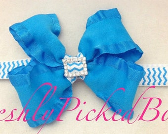 Chevron Sky Blue Double Ruffle Headband