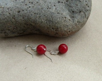 Red Earrings, Red Jewelry, Gifts for Her, Bridesmaids Jewelry, Gift for Bridesmaids, Red Bridesmaids, Simple Red Earrings, Red Hot Dangles
