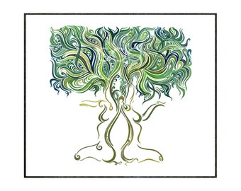 The Lady Tree - 20in by 20in Print of Original Watercolor Painting