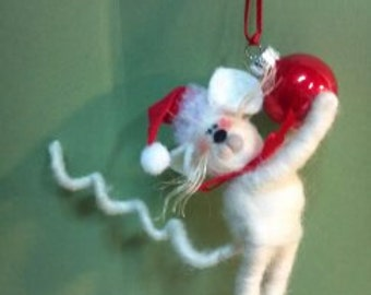 Santa Mouse Gray or White on Christmas Bulb Felted Wool Ornament - NEW for 2013