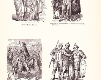 1898 World History Print - Roman Fashion - Vintage Antique Art Print American History Great for Framing 100 Years Old