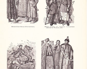 1898 World History Print - Fashion of the 17th and 18th Century - Vintage Antique Art Print American History Great for Framing 100 Years Old