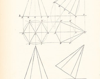 1885 Technical Drawing - Antique Math Geometric Mechanical Drafting Interior Design Blueprint Art Illustration Framing 100 Years Old