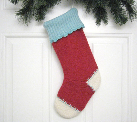 Handmade Christmas Stocking from Red Felted Recycled Wool Sweater (no.394)