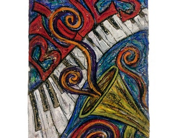 Blues NOLA JaZZ PRINT matted to fit 11x14 frame