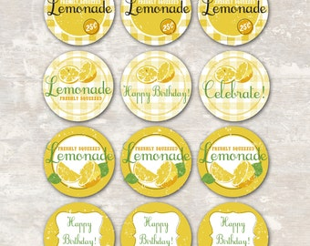 PRINT & SHIP Lemonade Stand Birthday Party Cupcake Toppers (set of 12) >> personalized and shipped to you | Paper and Cake