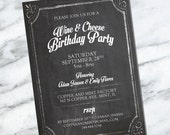 Wine and Cheese Birthday Party Invitation - Chalkboard Invite Vintage Black and White