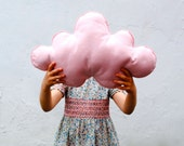 Pink Cloud Pillow-As Seen on Cover of Today's Parent-Wool Cushion-Kids Bedroom Accent Pillow-Baby Girls Dreamy Decor