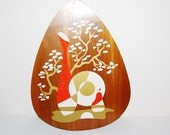 Vintage Mid Century Wall Hanging Orange and Gold