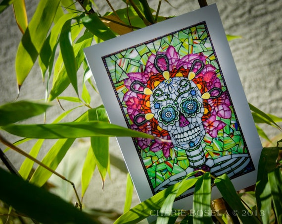 Blank Greeting Card Lolo Day Of The Dead Sugar Skull