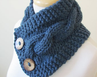 """Knit Neck Warmer, Cable Knit Scarf,  Chunky Warm Winter Scarf in Denim 6"""" x 25"""" Coconut Shell Buttons Ready to Ship - Direct Checkout"""