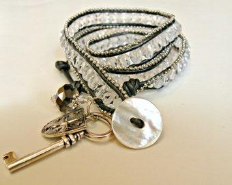 BOGO handmade beaded leather wrap ladder bracelet. Crystal, black, gunmetal, Goth, charms, key, triple, pearl, bling.