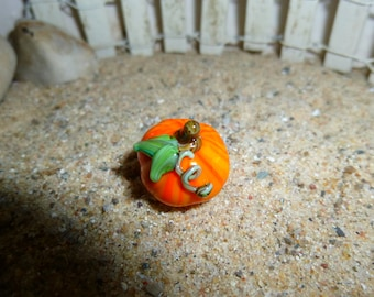 Miniature glass pumpkin for fairy garden (one)