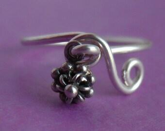 Sterling Silver Flower Dangle Ring