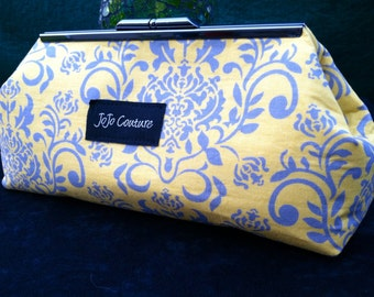 The Olive Clutch by JoJo Couture, in Mustard Yellow Damask