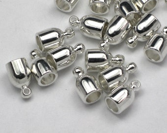 6+ 4mm Bullet Silver Plated End Caps, Kumihimo Or Leather Glue In Cord Ends, Bright Silver Plated Brass