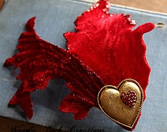 Valentine Hair Clip Fascinator - Vegan Friendly - ATS, Belly Dance, Formal, Pin Up, Heart, Velvet, Red