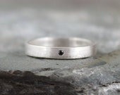 Black Diamond Ring - Sterling Silver Band - Men's or Ladies Jewellery - Wedding Band - Engagement Ring - Matte Finish