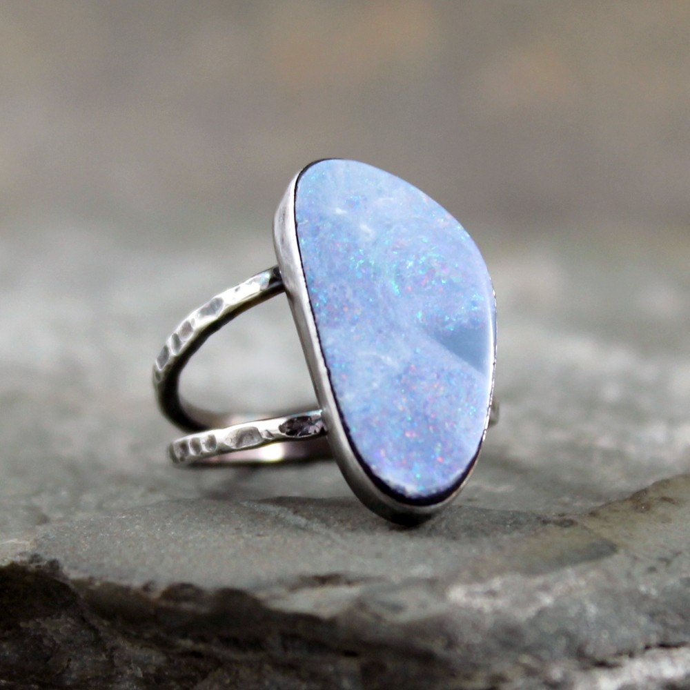 Boulder Opal Ring Sterling Silver Ring October Birthstone