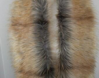 Faux Fur Scarf, Fox Gold Tip Fur Scarf, Women's Long Fur Scarf