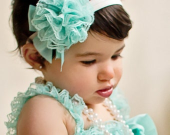 Set Petti Lace Romper and Headband Set Your choice of color and size  Hb201