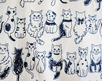 Japanese Cotton Canvas Fabric By The Yard - Cats on Natural Japanese Fabric - Half Yard - Kokka Fabric From Japan LIMITED YARDAGE