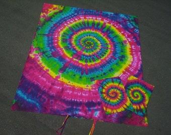 TWIN Size Rainbow Dreams - Duvet Cover - wth 1 PILLOW CASE - 100% Organic Cotton - Handmade Tie Dye