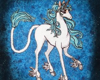 Last Unicorn Iron on Patch Seafoam Teal Main