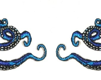 Small  Pair Octopus Iron on Patch in Blue