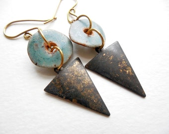 Brass and Ceramic Geometric Dangle Earrings by Chelsea Girl Designs, Rustic Boho Jewelry