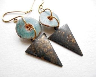 Brass and Ceramic Geometric Dangle Earrings by Chelsea Girl Designs, Rustic Boho Jewelry
