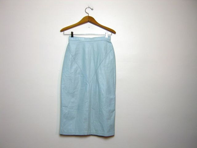 80s High Waist Leather Skirt light blue long skirt