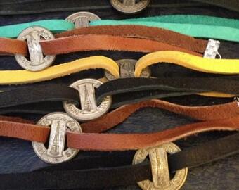 The Sidney Bracelet - Soft Leather and Vintage Indianapolis Transit Token Bracelet