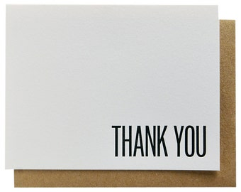 Flat Note Card Thank You Letterpress 110 Pound Cotton Paper Perfect Stationery for MEN