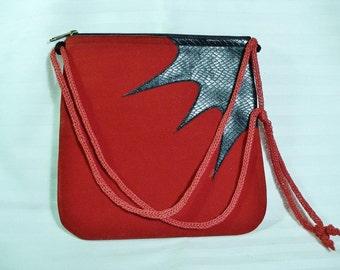 Vintage Geometric Travel Cross Over Bag REd Velvet and Genuine  Leather  Impressionist Retro original Vintage Excellent bag
