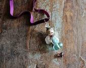 spring angel - pendant / gemstone svarowski crystals glass beads and with purple velvet choker