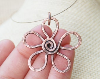 Oxidized. Copper Necklace. Minimalist.  Flower. Wire Jewelry.