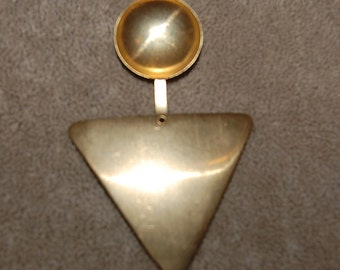 Vintage 5 Huge Brass Bubble Fold Over Triangle Stamping 71x46mm P3L