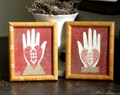 He Said, She Said - Valentines - Heart in Hand Love Tokens - Sepia, Ivory, Red - Love, Friendship, Engagement, Wedding, Anniversary