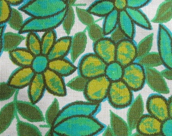 Vintage Floral Fabric Olive Turquoise and Lime 4 yards plus